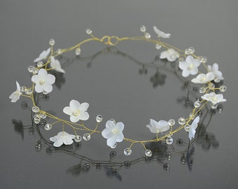 Bridal white flower tiara, flower crown, bridal hair accessories, wedding crystal tiara, wedding hair, Hair Wreaths,Bridal Halo