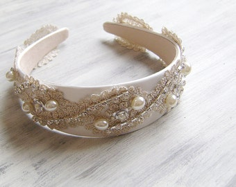 Bridal Hair, Bridal Lace Tiara, bridal Beige Headband, wedding rhinestone  wide headband,  Bridal Headpiece, Baroque style headpiece