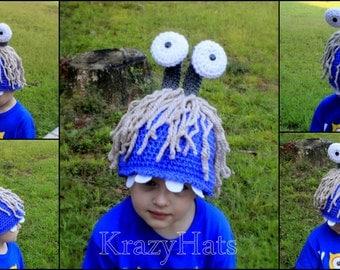 Crochet Purple monster hat.