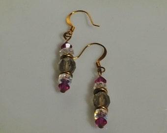Grey and fuschia earrings