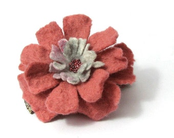 Felt Flower Brooch Pink Brooch Flower Brooch Feltted Jewelry gift for her