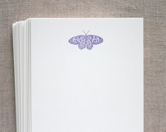 Flat Card Set with Letterpress Moth (vertical)