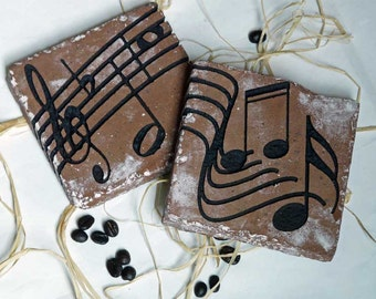 Musical Staff and Notes Set of Two Engraved Clay Brick Coasters