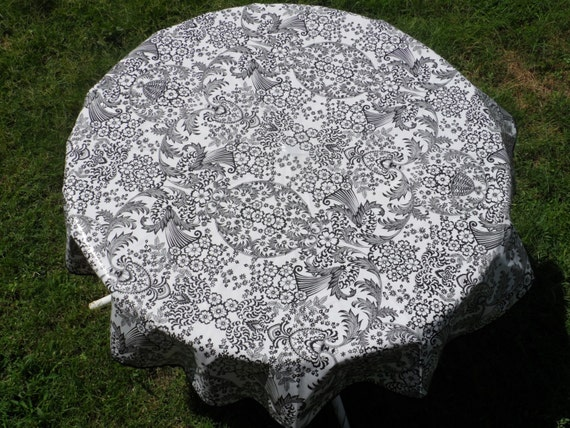 60 Oilcloth Tablecloth Round Black Toile Lace No Hole