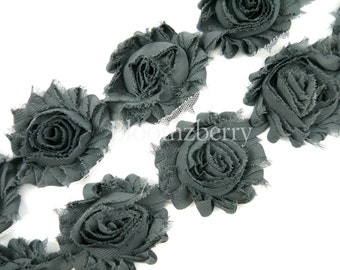"""2.5"""" Shabby Rose Trim - Charcoal Color - Charcoal Shabby Trim - Charcoal Chiffon Trim - Shabby Rose Trim - Hair Acessories Supplies"""