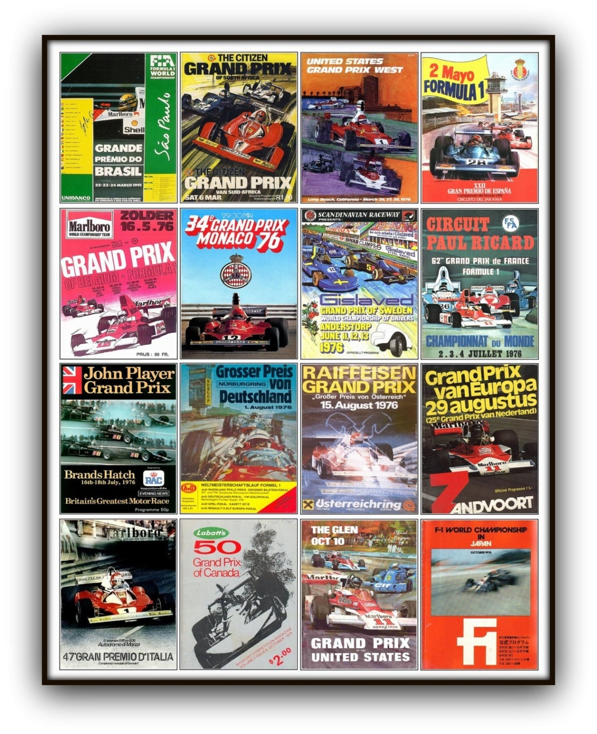 formula one grand prix poster print featuring f1 program. Black Bedroom Furniture Sets. Home Design Ideas