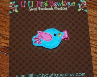 Felt Embroidered Turquoise Birdie Hair Clip / Toddler Hair Clip / Adult Hair Clip / Summertime Hair Clip