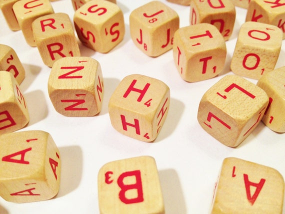 75 Red Letter Scrabble Cubes Dice Letters tan wood with Red Letters and numbers