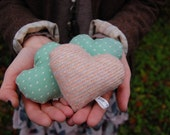 Lavender Heart Sachet - Scented pillow made with vintage fabrics and lavender buds
