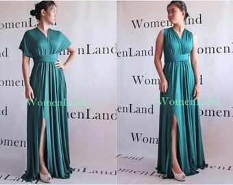 WomenLand : Custom Handmade Full Length Elegant Infinity Dress With SLIT Convertible Woman Evening Prom Wedding Bridal Party Bespoke Dresses