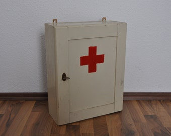 SALE Authentic Vintage German First Aid Cabinet with Lock and Key. Wooden. White.