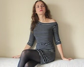 SALE - 30%!!! Sexy off shoulder striped dress, navy jersey with silver stripes, mini, with 3 4 sleeve. One of a kind, size M fashion for her