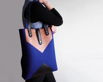 Navy Blue Sienna Brown Black Wool Felt Genuine Leather Tote Bag