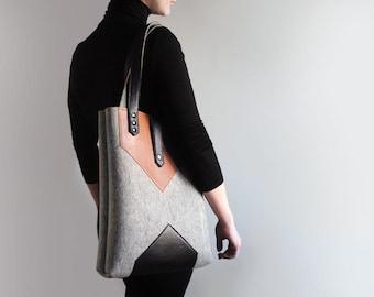 Grey Black Sienna Brown Wool Felt Genuine Leather Tote Bag