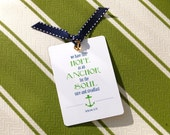 HOPE as an ANCHOR for the SOUL . Hebrews 6:19 Bible Card . Accented with Ribbon and Charm