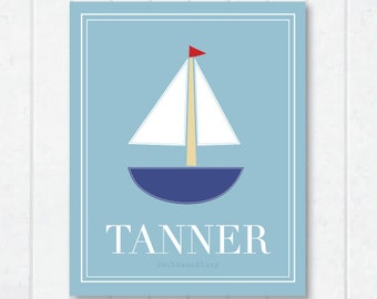 Sailboat Personalized Childrens Print