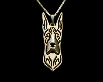 Great dane jewelry - gold pendant and necklace.