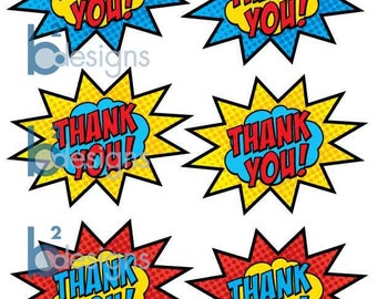 Superhero Thank You Stickers (PC) INSTANT DOWNLOAD