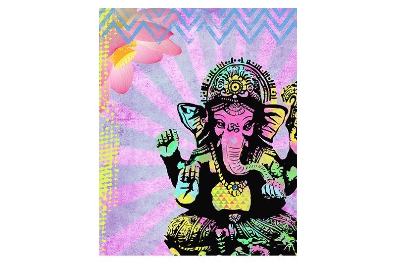 Ganesha Art Print Inspirational Collage Art Colorful Painting Home Decor Poster Elephant: colorful elephant home decor