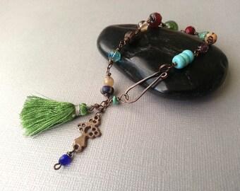Bohemian Tassel Bracelet Fern Green Silk Tassel Rustic Oxidized Brass Copper Red Turquoise Aqua Purple Indigo Boho Chic Tribal Gypsy Hippie