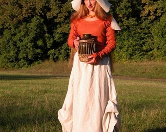 "20% DISCOUNT! Custom Dress and Skirt (Apron) Set with Hat ""Red Elise"""