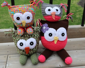 2 Legged Owl Stuffie Crochet Pattern with Flower PDF Pattern Owl Plush Toy Permission to Sell