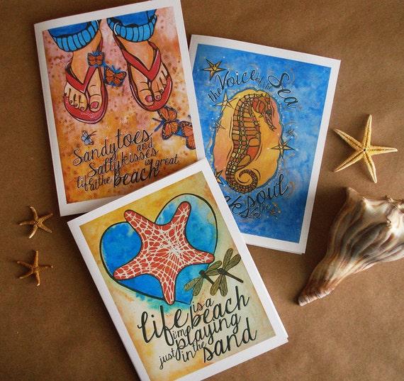Beach Card Set (3). Beach Decor. Beach Invitations. Beach Quote Saying. Starfish, Flip flop, Seahorse, Greeting Card. Thank You Card.