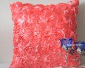 Rose Pillow, Peach Throw Pillow, Peach Pink Pillow, Decorative Pillows, Peach Pink, 16x16 pillow, Accent Pillow, Rose Flowers Valentine Love