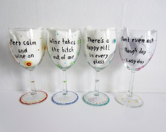 funny wine glass hand painted wine glasses set of 4 colorful birthday gift