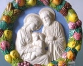 Vintage Made in Italy Majolica Holy Family  Wall Hanging