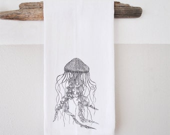 Jellyfish print - Hand Printed dish cloth - dish cloth - hand towel - beach decor - nautical dish towel - nautical decor - stocking stuffer