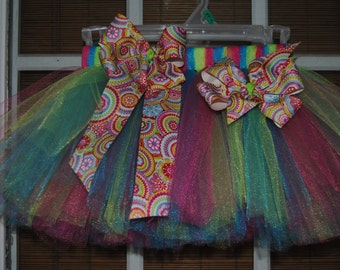 Summer Fun Girls Tutu with matching bow and hairbow 3mos-5T