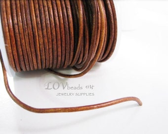 Natural Round Leather, Distressed Light Brown color Leather Cord, natural dye, 2mm cord