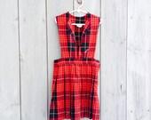 Ivy dress - Vintage girls red plaid pinafore