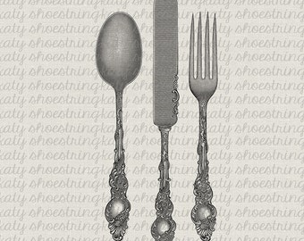 French Fork Knife Spoon Silverware Digital Image Transfer Burlap Pillows Tea Towels Paper Crafts Tags INSTANT DOWNLOAD