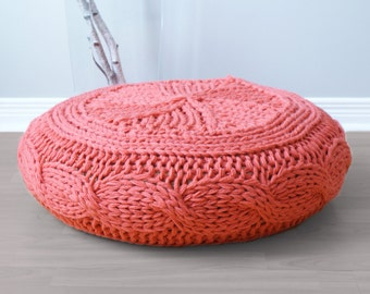 "DIY Knitting PATTERN - Cable Knit Footstool Cover fits Ikea's Alseda Footstool 23-7/8"" diameter x 7-1/8"" high"