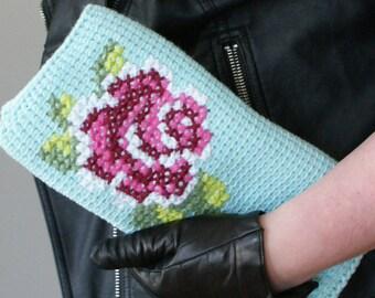 "DIY Tunisian Crochet PATTERN - Cotton Pink Rose Bloom Clutch (11"" x 11"") (tunisian007)"