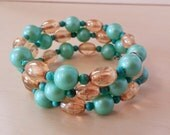 Memory Wire Vintage Plastic Turquoise Beads with Natural Turquoise and Czech Glass Bracelet