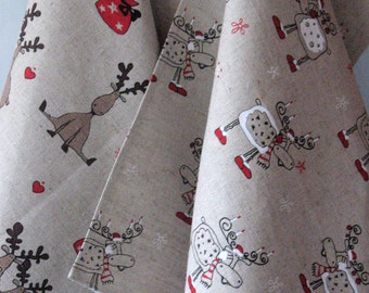 Linen Cotton Dish Towels Tea Towels Rudolph Reindeer Christmas Holiday Tea Towels set of 2