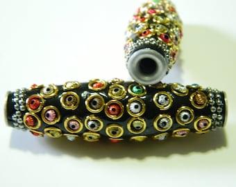 NEW Beautiful Long Kashmir Black Focal Bead 60mmX17mm