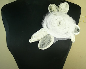 White color rose chiffon flower applique trim.