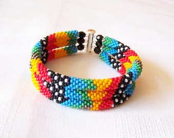3 Strand Colorful  Multicolor Bead Crochet Bracelet - Bright Geometrics