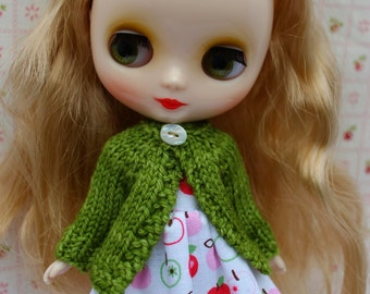 BLYTHE Middie doll hand knit wool cardigan sweater - Spring leaf green