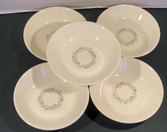 Taylor Smith Taylor Fortune Coupe Cereal Bowls Aqua Gray Rust - Mid Century - Set of 6