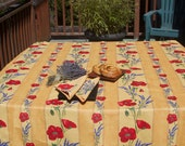 Square Oilcloth ,oilcloth,  cotton coated tablecloth.Fabric from Provence,France.  Poppies and Lavender in yellow.
