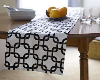 """Black and White Table Runner.Party Runner. Chainlink Runner.Black and White Table Runner. 48"""", 60"""",72"""",84"""",96"""" Runner or 12 x 18""""Placemat."""