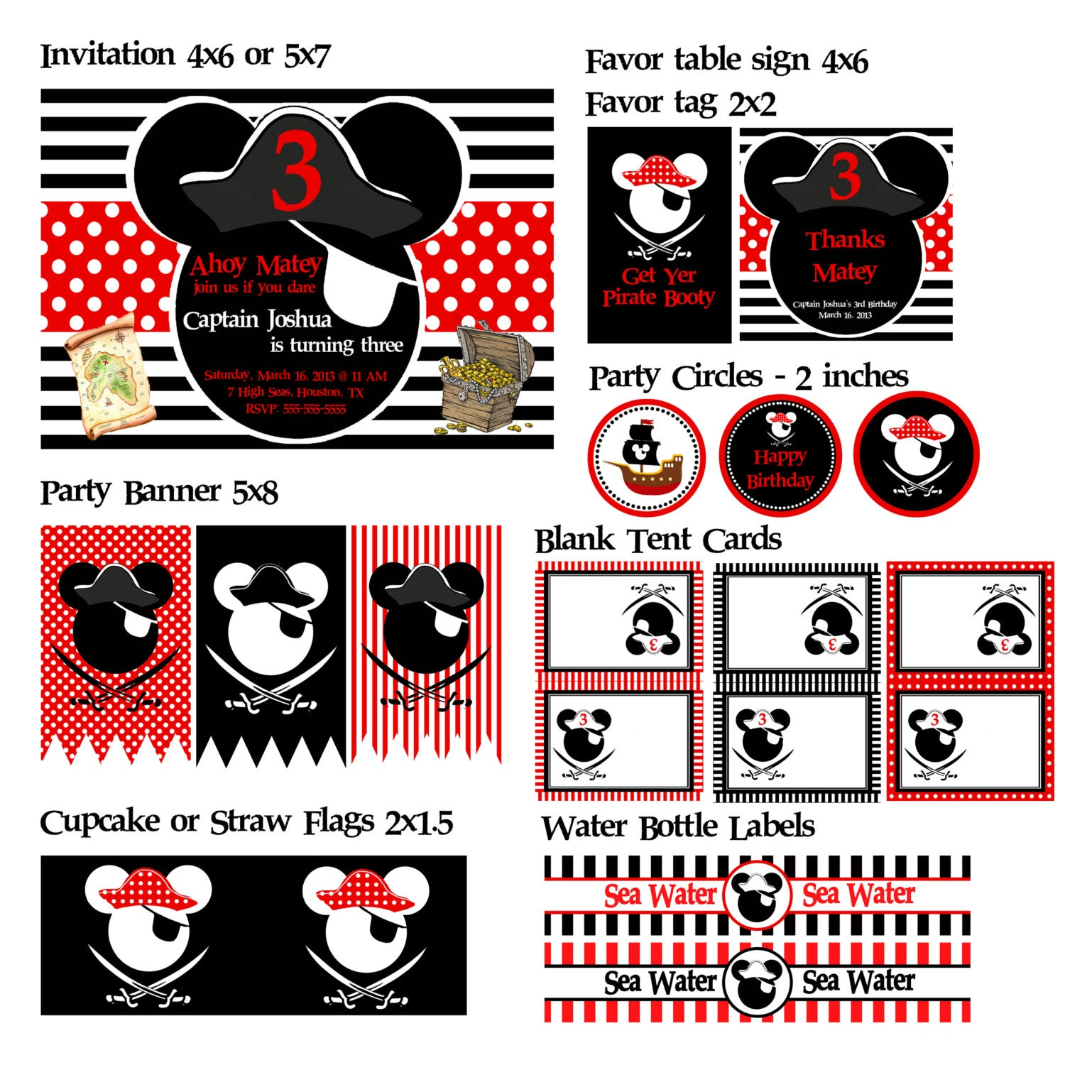 Custom Mickey Mouse Or Minnie Mouse Pirate Party Printables