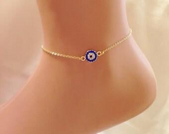 Gold Plated Evil Eye Ankle Bracelet, Gold Anklet, Summer Jewelry, Valentines Day Gifts Evil Eye Jewelry, Rhinestone Anklet, Amulet Bracelet