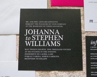 Modern Wedding Invitation, Bold Wedding Invitation, Geometric  Wedding Invitation, Black and Pink Wedding Inviation