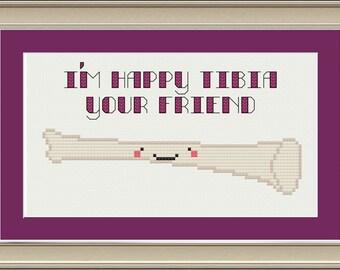 I'm happy tibia your friend: nerdy bone cross-stitch pattern